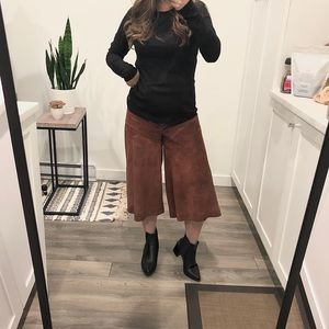 Pants - Vintage real leather suede high waist culotte XXS